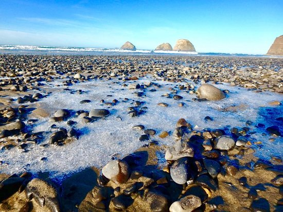 Oceanside, OR: Ice on the beach! (in January)