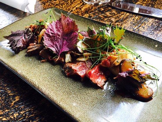 Malt Dining : Beef Tatami, mushroom, black garlic. (gf and df)