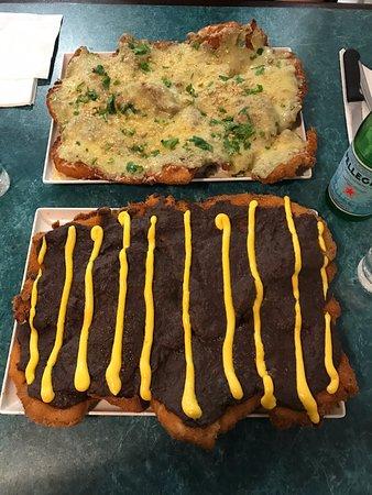 Marrickville, Australia: (top) bechamel sauce and cheese... (bottom) Manya bean/chorizo topping with peri peri sauce