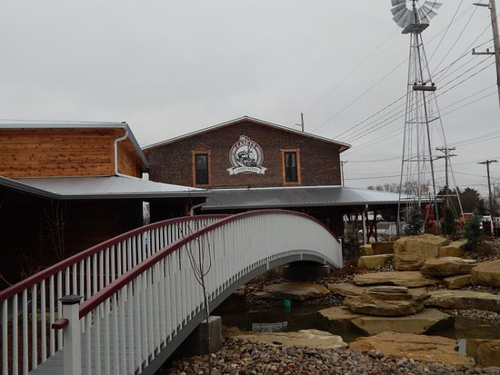 Casey, IL: The bridge goes from the mailbox to the candy shop.