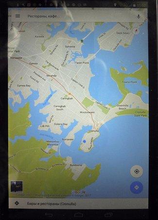 Cronulla, Australia: Более общая карта Южного района Сиднея, включая Кроналу.