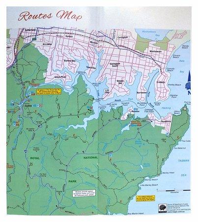Cronulla, Australia: Карта водных маршрутов от Кроналы и пешеходных по Королескому Нац. Парку.