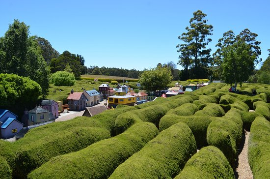 Promised Land, Australia: A view over one of the mazes and part of the Village of Crackpot