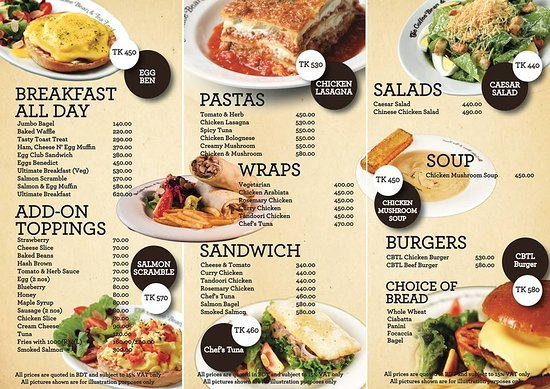 The Coffee Bean And Tea Leaf Breakfast Pasta Wraps Sandwich Salads