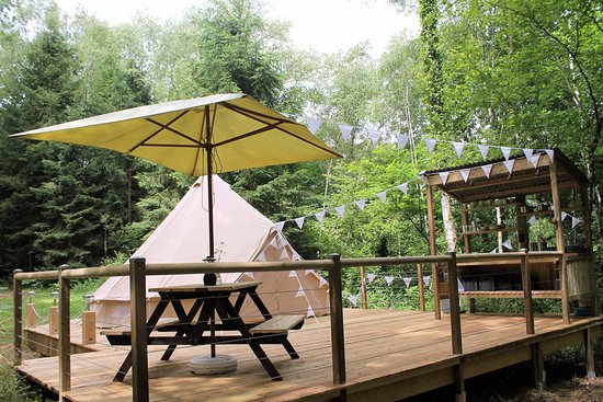 Uzerche, France: Bell Tent on Terrace at Camping Moulin de la Geneste