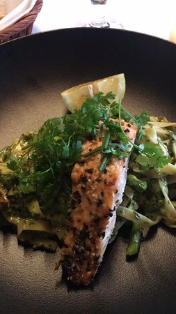 Great pasta with salmon!
