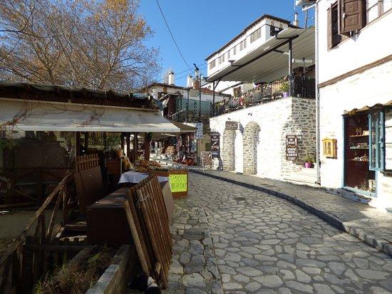 traditional stone road in Pilion Greece Makrinitsa village