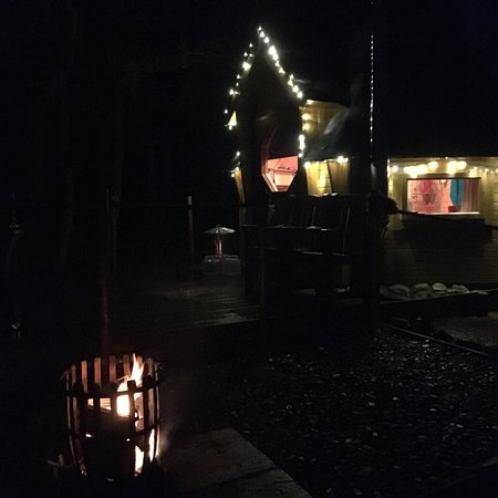 Newcastleton, UK: View of Cabin from the Fire Pit