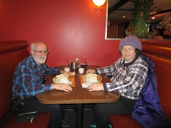 West Warwick, RI: Louis and I eating our meals.