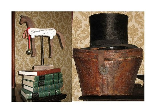 Westborough, MA: Antique TopHat and Wooden Horse