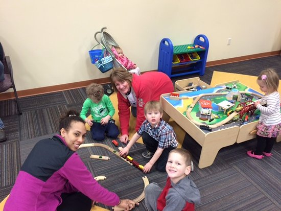 Fond du Lac, WI: Playing with the Train Table