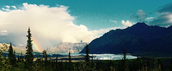 Glacier View, AK: Mount Wickersham and the Matanuska Glacier as seen from your tent