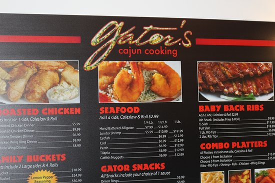 Menu - Gator's Cajun Cooking - Southfield Michigan - Great for Catering