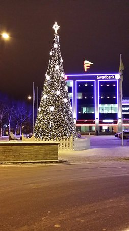 The Xmas tree in Narva city centre Picture of Hotel King Narva