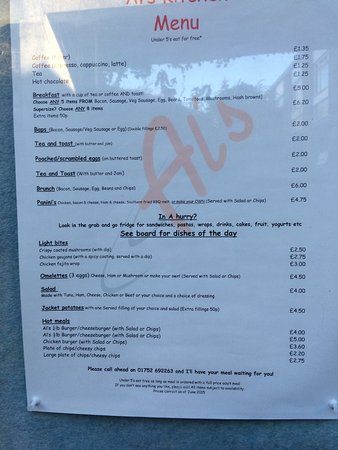 Al S Menu Picture Of Al S Kitchen Plymouth Tripadvisor