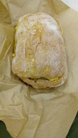 South San Francisco, CA: Ciabatta sandwich: Egg and Cheese on Acme roll