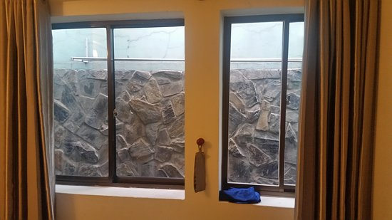 Blue River Hotel: So, here is the window. With the view of a wall.