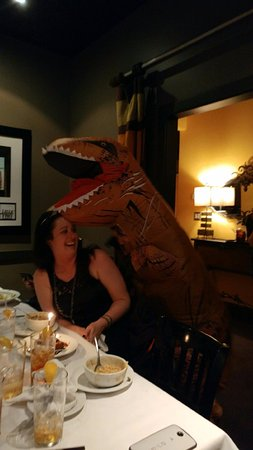 Truffles Cafe Bluffton: The star of the show, Marshall the Dinosaur.