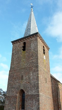 Terschelling, The Netherlands: square part of the church with tower and spire