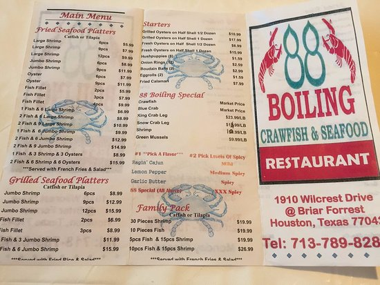88 Boiling Crawfish Seafood Restaurant Menu