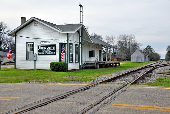 Plains, Georgien: Jimmy Carter for president still resonates at the old train depot.