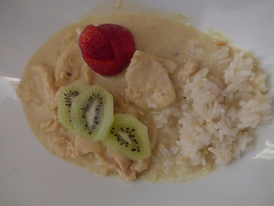 Лейкербад, Швейцария: Cicken Curry mit Reis