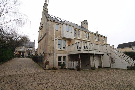 Box, UK: Rear of the house with large verandah for enjoying the sunshine