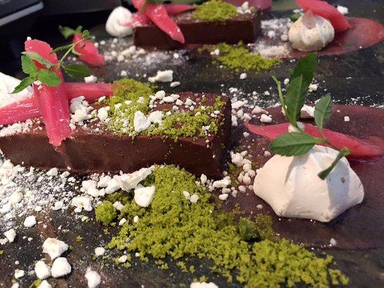 Horsted Keynes, UK: Chocolate Ganache, Rhubarb with Pistachio and Meringue