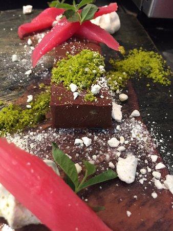 Horsted Keynes, UK: Chocolate Rosemary Ganache, Rhubarb, Pistachio 