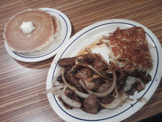 Flint, MI: My Steak and Eggs with pancakes at dinnertime