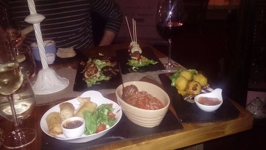 Bistro 73 by Phelim Byrne: Chicken spring rolls, meatballs, brie and goats cheese