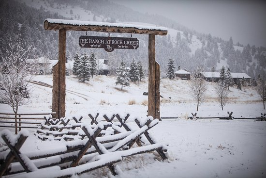The Ranch at Rock Creek arch decorated by Mother Nature for our winter travelers.