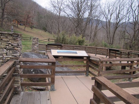 Cullowhee, NC: Protective walkway around the rock.