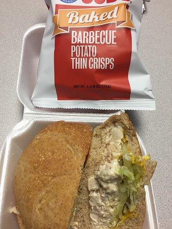 Pascagoula, MS: Chicken salad sandwich on a wheat kaiser roll.