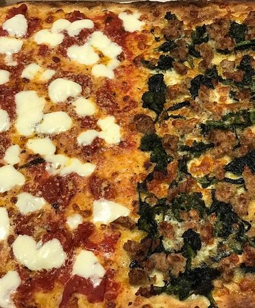 Yardley, PA: Brookly Style Pizza half fresh mozzarella and half broccoli rabe and sausage