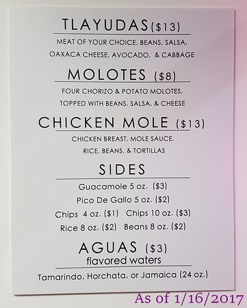 Troy, MI: Menu as of 1/16/2017