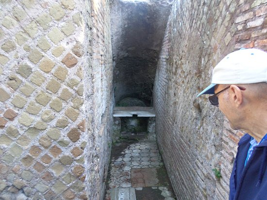 A toilet in a wealthy home in Ostia Antica