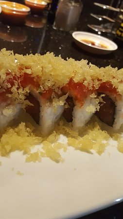Take Sushi: Double spicy - spicy tuna inside and out with tempura flakes