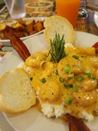Shrimp Grits Home Fries Picture Of Surrey S Juice Bar New