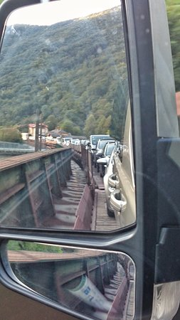 Bovec, Slovenien: Loaded on car train between Most na Soci and Bohinjska bistrica