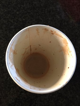 Axminster, UK: The end of my Hot Chocolate - a thick layer of real chocolate. Delicious!