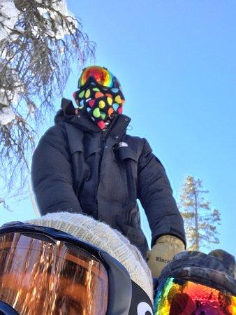 Dubois, WY: Sledding through the snow.