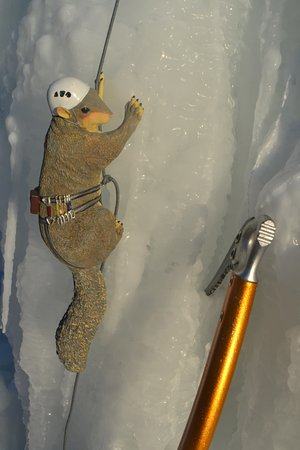 Baraboo, WI: Our mascot climbs the ice!