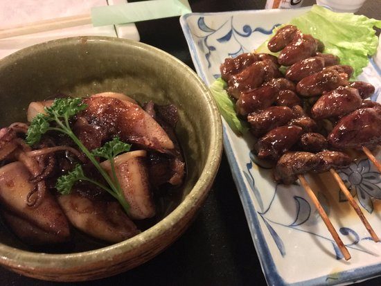 Baby Squid Left And Chicken Heart Right Picture Of Asakusa