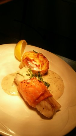 Banbury, UK: Cod wrapped in Smoked Salmon with Dill & Cream Sauce