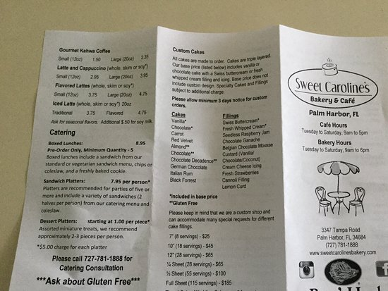 Palm Harbor, FL: Outside of takeout menu