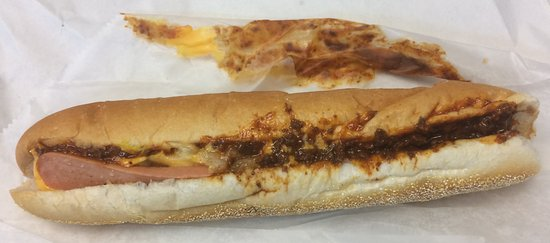 New Castle, DE: Chili Cheese Dog with Mustard and Chopped Onion