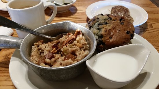 Oatmeal and Blueberry Muffin..hot and tasty