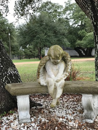 Schulenburg, TX: The angel in the courtyard.