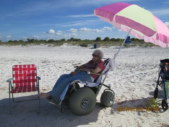 Caladesi Island State Park: Mother in sand wheelchair provided free.